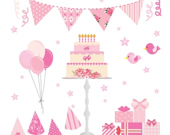 40% Off Pink Birthday Party Clip Art. Pink Shabby Chic. Birthday Cake, Bunting, Balloons, Parcels,  Birds. Instant Download