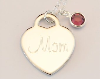 Custom Engraved Heart Birthstone Name Charm Necklace INCLUDING Birthstone, Personalized Necklace, Personalized Jewelry