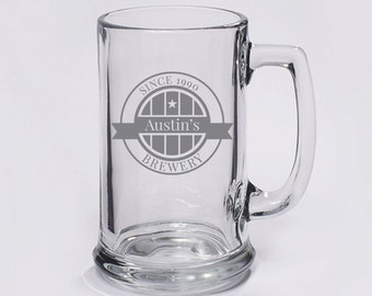 Brewery Badge Beer Mug with Handle