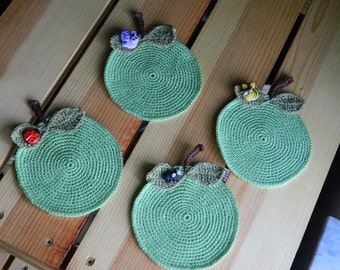 "Houseware glass coasters ""green apple"" handmade crochetted set of four gift under 15 dollars MADE TO ORDER"