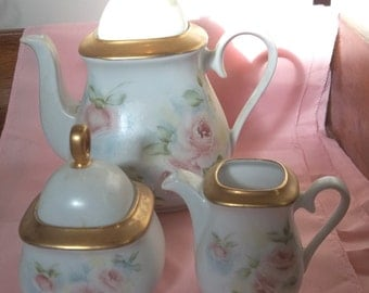 Vintage Hand-painted Tea Set - Bavaria - Pink Roses