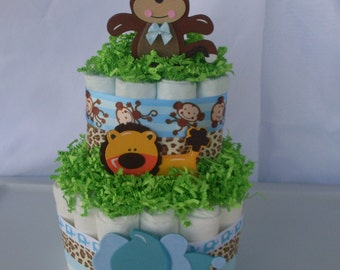 2 Tier Jungle Diaper Cake, Animal Diaper Cake,Jungle Diaper Cake,Safari Baby Shower Centerpiece,Baby Boy Diaper Cake,Boy Baby Shower