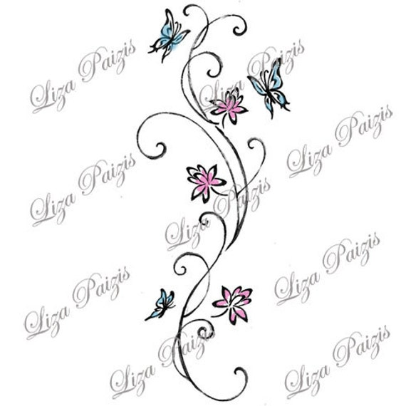 Vine Tattoo With Lotus Flowers And Butterflies With Swirls In