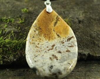 CA01903# Ocean Jasper Pendant,  Ocean Jasper Gemstone Necklace With a Sterling Silver clasp, Gemstone Pendant