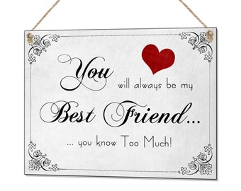 You Will Always Be My Best Friend You Know Too Much Retro Funny Metal Sign Plaque
