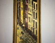 Beautiful Oil Painting of European Street Scene Paris.