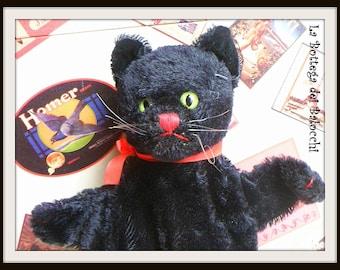 """Steiff """"Tom"""" Black Cat Hand Puppet."""