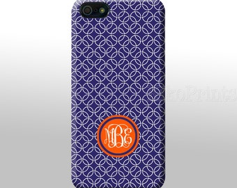 iPhone 6 Galaxy S6 S6 Edge Purple White Circles Monogrammed iPhone 4/4S 5/5S 5C 6 Galaxy S4 case Personalized phone case