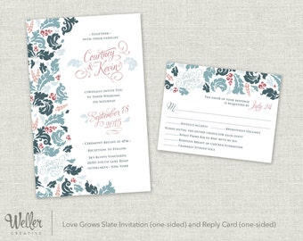 Love Grows Slate Wedding Invitation and Reply Card – Digital Download