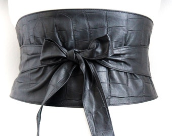 Black Croc Leather Obi Wide Corset Belt | Waist corset Belt | leather sash belt |Black Leather tie Belt
