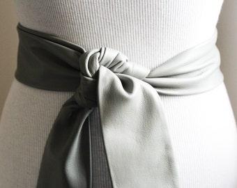 Grey Soft Leather Coat Tie Belt | Leather Narrow Belt | Leather Replacement belt | Narrow Nappa Leather Belt