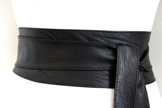 sale black soft belt obi leather wrap tie leather by