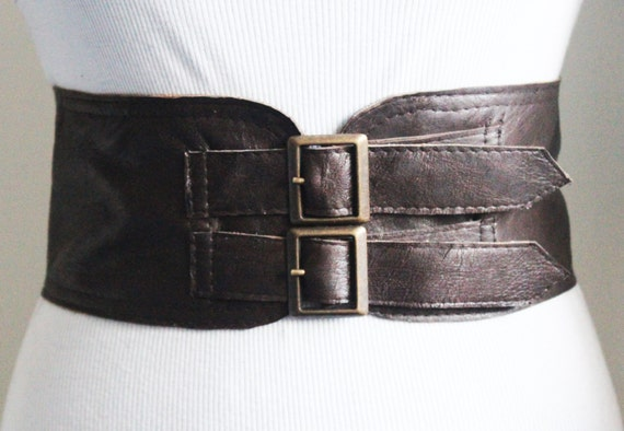 brown corset leather two buckle belt brown belt