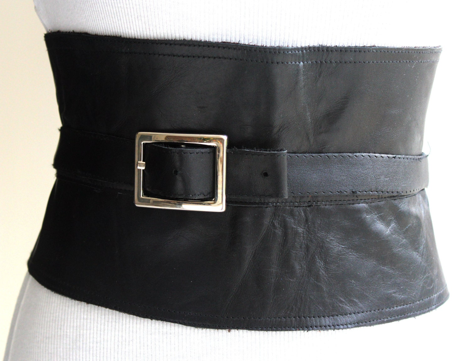 Corset Black Leather Obi Belt Womens Wide Waist Belt