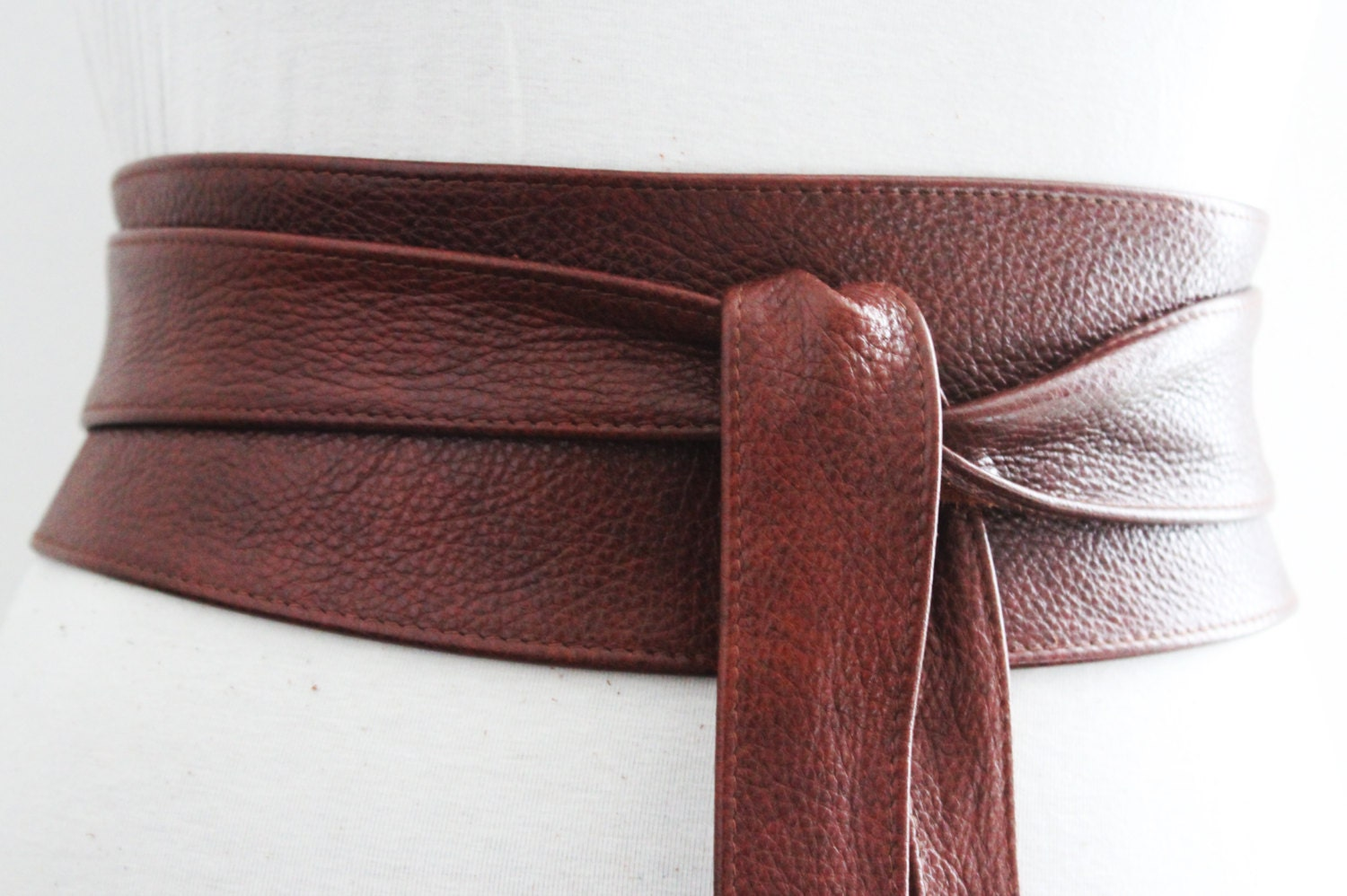 rich brown leather obi belt waist or hip belt real by