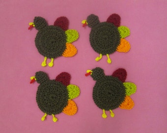 Christmas/Thanksgiving Handmade Crocheted Turkey Coasters