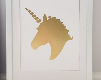 "Gold 8x10"" unicorn wall print"