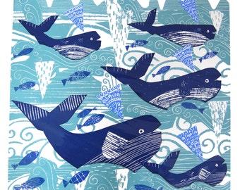Whales. Large Original screenprint