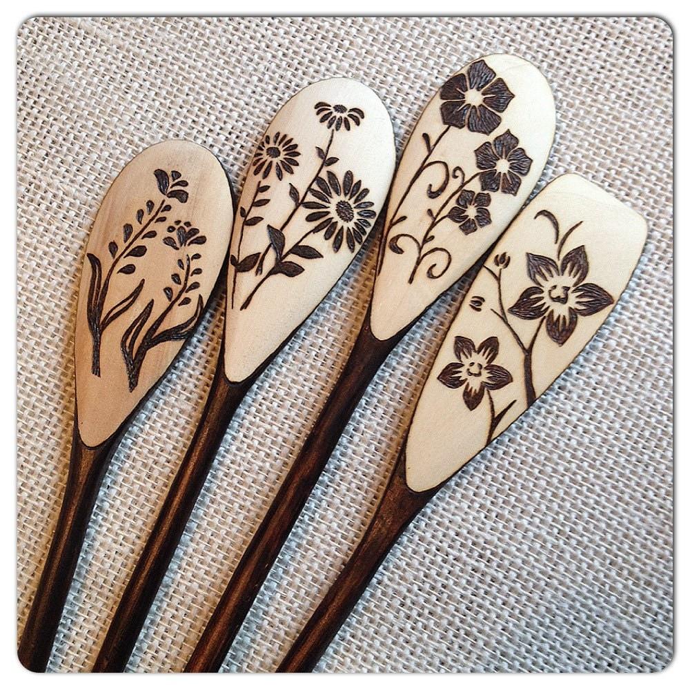 Custom Wood Burned Spoons Floral Design Set Of 4 By