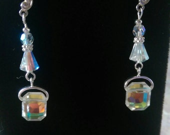 Vintage Swarovski Crystal drop earrings. Art Decco style. Wedding Bridal Gift Handmade Dangle Shiny Orange Blue Clear Sterling Silver