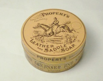 Propert's Leather and Saddle Soap Tin/ Made in England/ Advertising Tins/ Horses/ Horse Jumping/ Collectibles