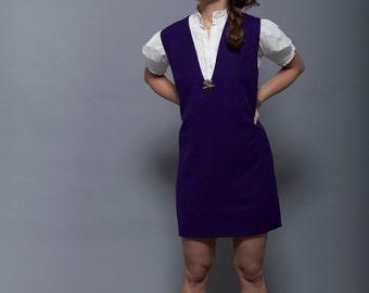60's Purple Wool V-neck Sleeveless A-line dress