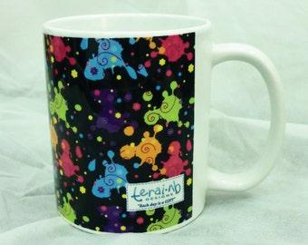 Black Mug. Splats Mug. Ceramic Mug. Black Mug with colorful pattern.Houseware.Coffee Mug. Black Mug. Black patterned Mug