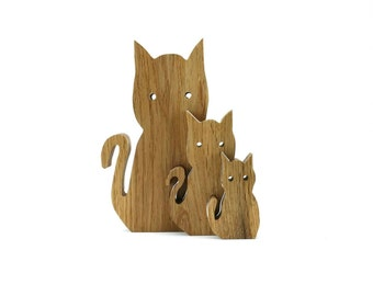 Family of wooden Cats made from solid Oak - Interlocking Animals - Cat ornament