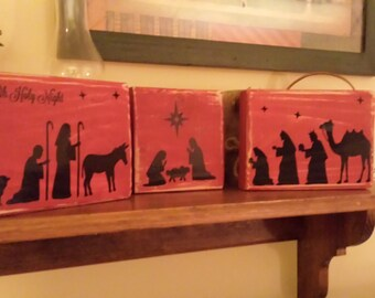 Nativity Scene Vinyl Decal Oh Holy Night - Nativity vinyl decal for glass block light