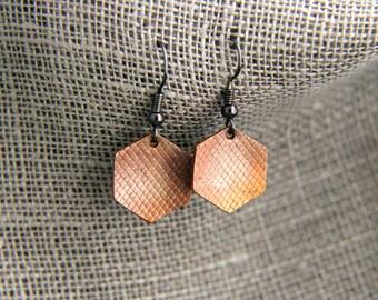 hexagon textured copper earrings