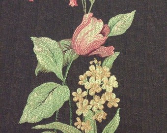 Pink and Yellow Flowers on Chocolate Brown Background Upholstery Fabric