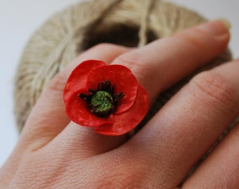 Red poppy ring Red flower adjustable ring by panarili floral jewelry floral ring red jewelry red flowers gift for her