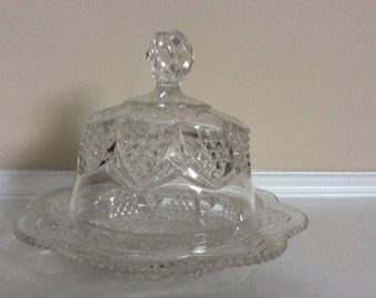Lovely Antique Glass Butter/Cheese Dish with Hood, by George Duncan.