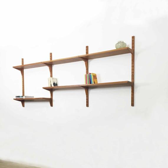 Plateau cado syst me vintage teck poul cadovius par for Systeme de fixation etagere murale