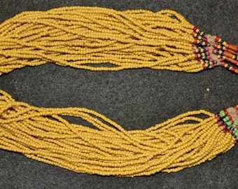 """Royal Jewelry : Authentic Naga Extra Long Full Mustard Belt Glass Bead """"Royal"""" Necklace #639"""