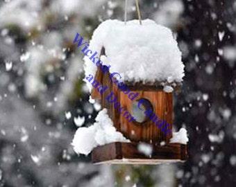Decorative Ceramic Tile Sublimation - WINT_0008 - Winter Birdhouse Scene