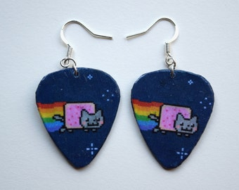 Nyan Cat Meme Guitar Pick Earrings