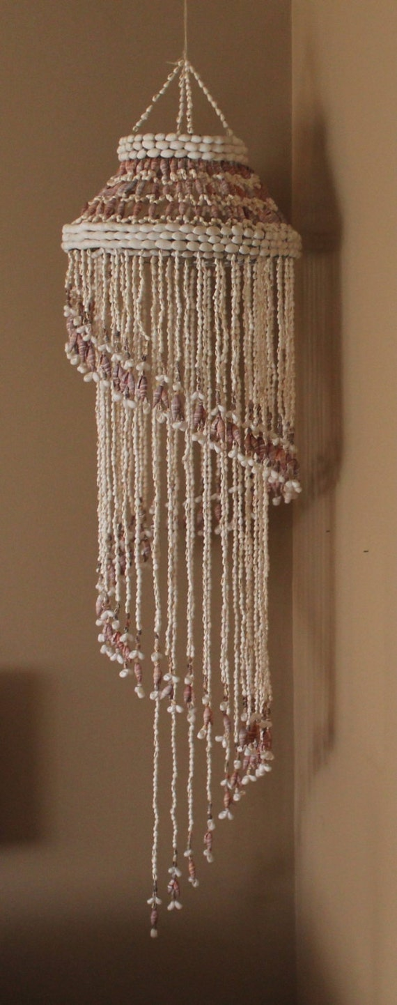 Vintage Cascading Spiral Seashell Hanging Decor Hawian