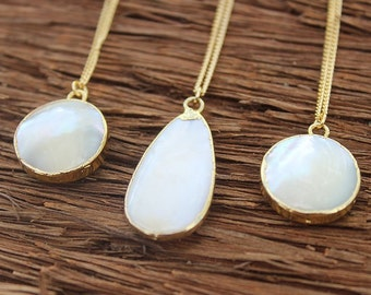 Mother of Pearl Necklace / Pearl Necklace / 22k Gold Chain / Gold Mother of Pearl Necklace