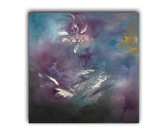 Purple painting Large art print Hand embellished giclee  Print on canvas Print of original painting on canvas Abstract Purple, white, blue