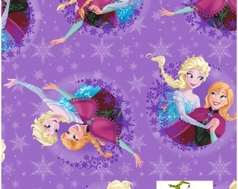 15 Inch End of Bolt - Disney Frozen Sisters Ice Skating Snowflake FLEECE Fabric - Frozen Fabric - Snowflake Fabric - Springs Creative Fabric