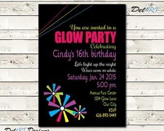 Glow in the Dark Invitation, Birthday Party Invite Card, pinwheels clipart, Digital File, JPG or PDF, Printable or E-card, Girl Girls