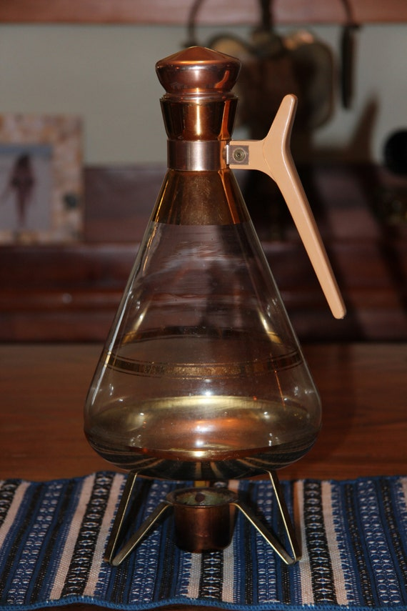 Vintage Coffee Carafe and Warmer Inland Glass retro mid