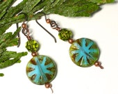 Copper Blue Green Earrings Handmade Swarovski Czech Glass Coin Beads Paddle Wires