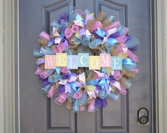 Ribbon, mesh welcome wreath