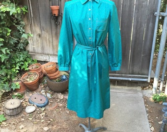 70s Teal Shirt Dress w/ Neon Detail