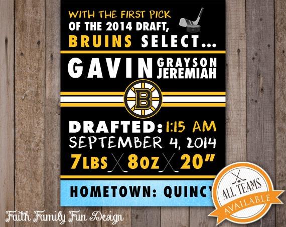 Nhl boston bruins hockey wall art birth announcement for Bruins bedroom ideas