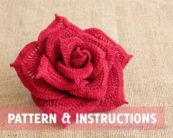 Crochet Rose Pattern - Crochet Flower Pattern - Crochet Pattern - Large Rose Pattern - INSTANT DOWNLOAD