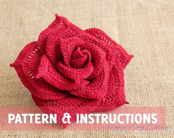 Rosa patrón e instrucciones de ganchillo por HappyPattyCrochet
