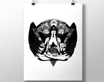 Nott (Norse Godess) Print (11.7 x 16.5 inches)